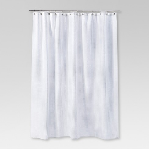 Waffle Weave Shower Curtain White Threshold