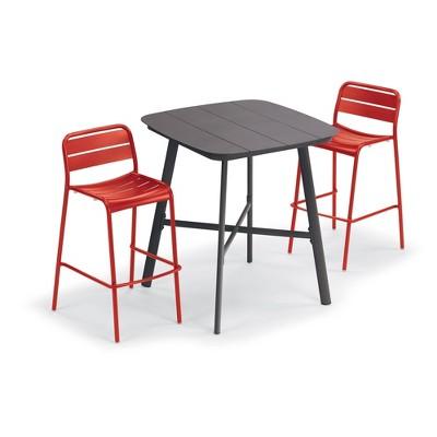 "Eiland Patio Set with 36"" Square Table & Kapri Bar Chairs - Venetian - Oxford Garden"