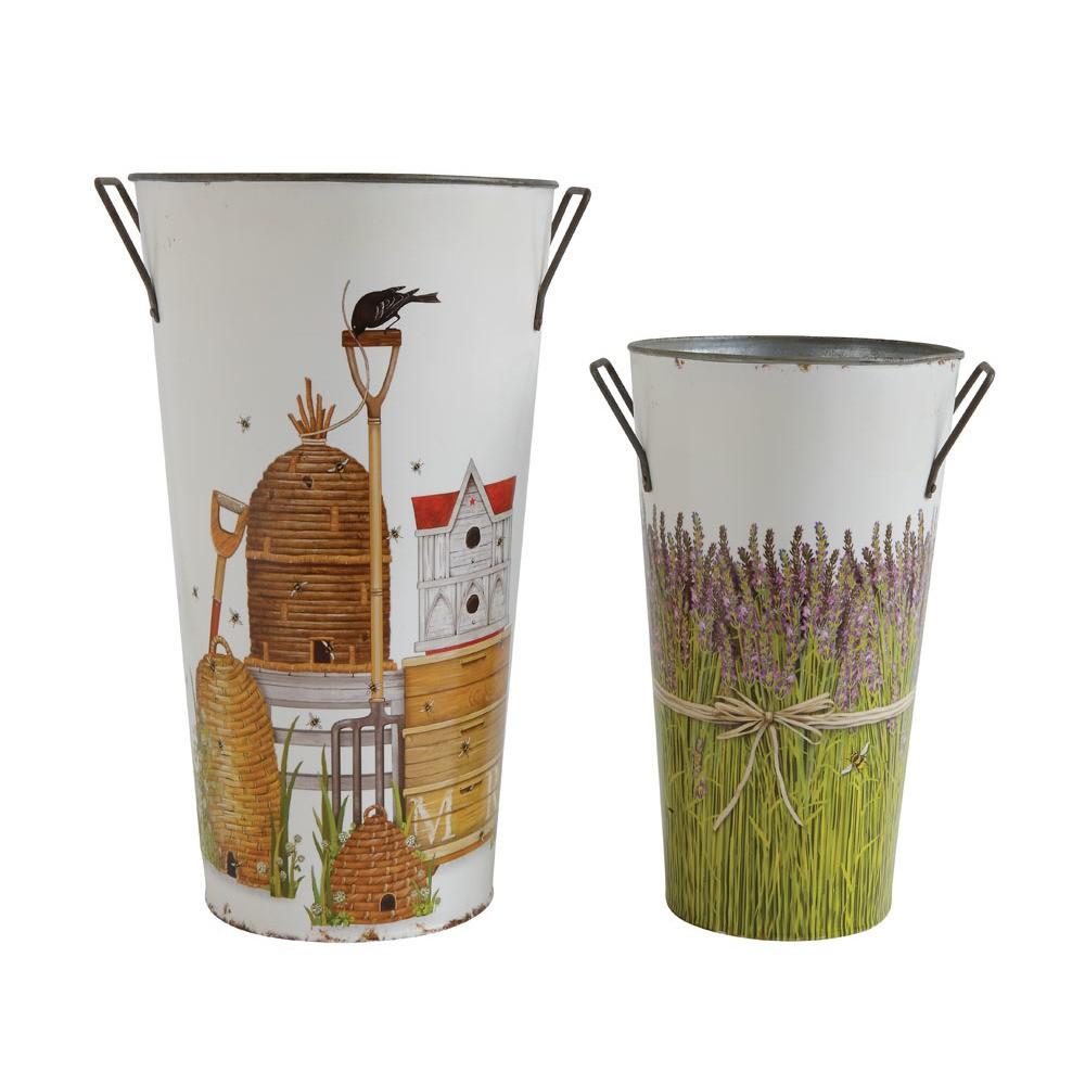 11.25 x 6.25 2pc Decorative Beehive & Lavender Metal Buckets - 3R Studios, Multi-Colored