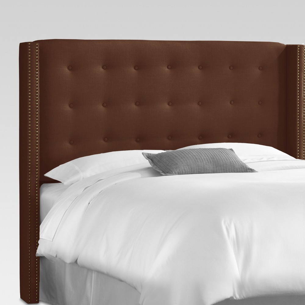 Nail Button Tufted Wingback Headboard (King) Brown - Threshold