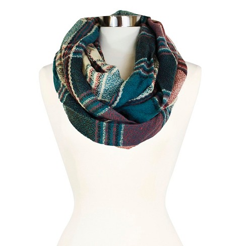 118e6d478 Teal Cozy Multiple Color Plaid Infinity Scarf : Target