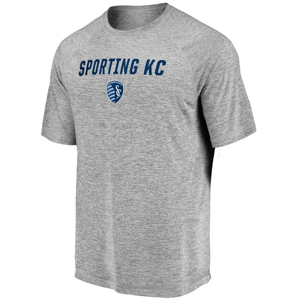 Mls Men's Short Sleeve Gray Heather Performance T-Shirt Sporting Kansas City - L