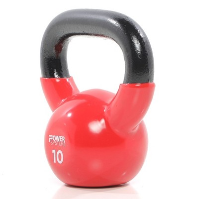 Power Systems Premium Vinyl Covered Cast Iron Kettlebell Prime Home Gym Exercise Weight Training Accessory, 10 Pounds, Red