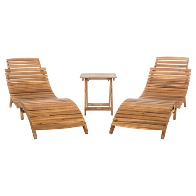Pacifica 3pc Wood Patio Lounge Set - Teak Brown - Safavieh
