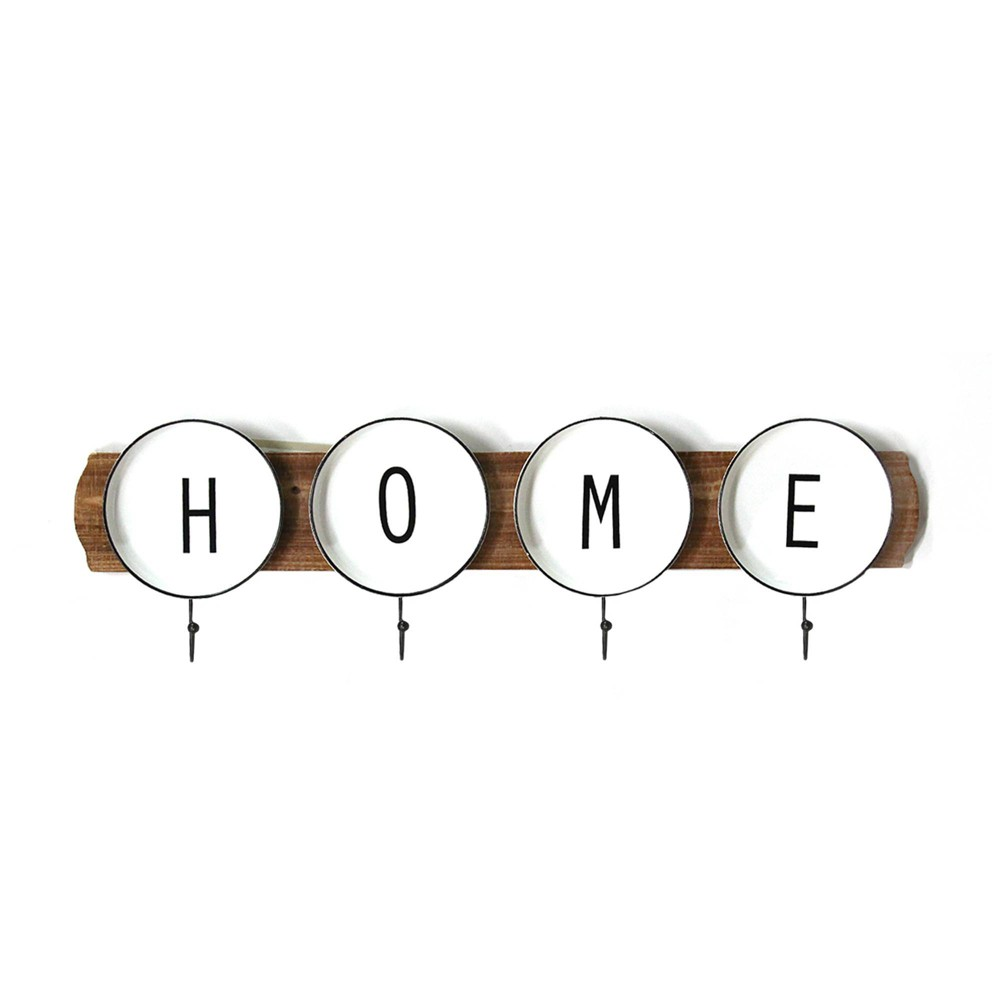 """Image of """"Enamel Plates """"""""Home"""""""" Wall Coat Rack - Stratton Home Decor"""""""