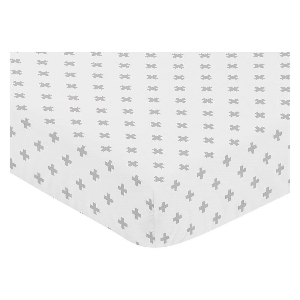 Sweet Jojo Designs Fitted Crib Sheet - Fox Patch Plus - White