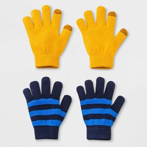 Boys' 2pk Solid Stripe Gloves - Cat & Jack™ Navy One Size - image 1 of 1