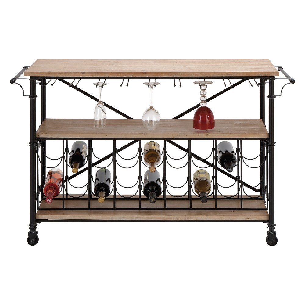 Metal and Wood Pine Shelves Wine Roll Table Black - Olivia & May
