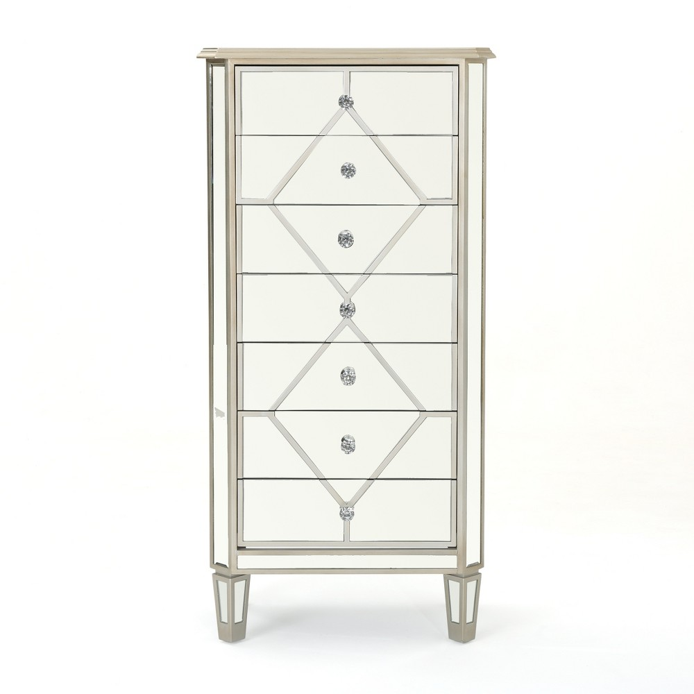 Benson 7 Drawer Mirrored Cabinet Silver - Christopher Knight Home