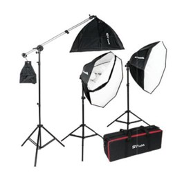 Smith-Victor OctaBella 1500 1500W Daylight LED 3-Light Kit, Includes 28  Softboxes, 6' Light Stands, 8' Boom Stand and Boom Arm