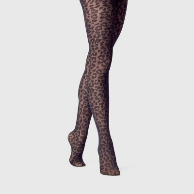 Women's Leopard Sheer Tights - A New Day™ Black
