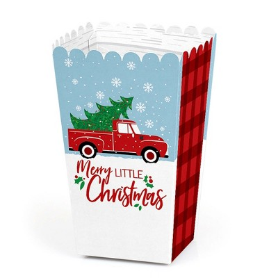 Big Dot of Happiness Merry Little Christmas Tree - Red Truck Christmas Party Favor Popcorn Treat Boxes - Set of 12