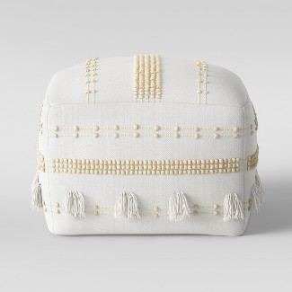 Lory Pouf Neutral Textured with Tassels - Opalhouse™