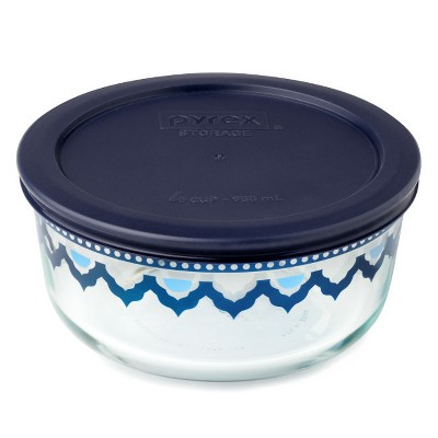 Pyrex 4 cup Round Decorated Food Storage Container Blue