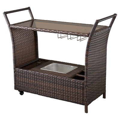 Bahama Wicker Bar Cart - Brown - Christopher Knight Home