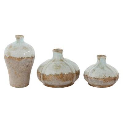 3pc Glazed Terra Cotta Vase Set Gray - 3R Studios