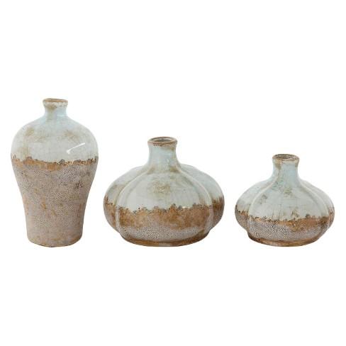 3pc Glazed Terra Cotta Vase Set Gray - 3R Studios - image 1 of 4