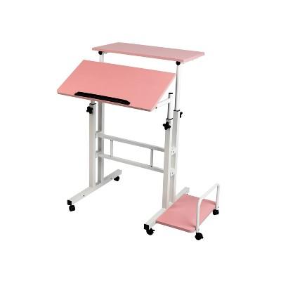 Pink Rolling Sitting/Standing Reversible Desk with Side Storage - Mind Reader