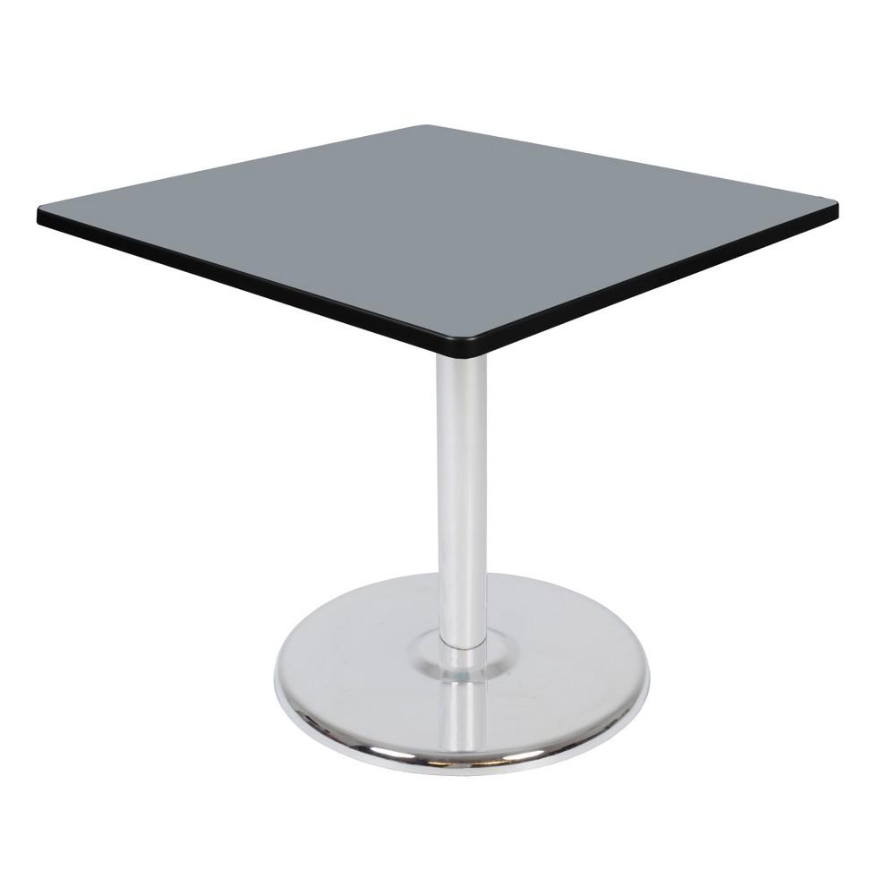 36 Via Square Platter Base Table Gray/Chrome (Gray/Grey) - Regency