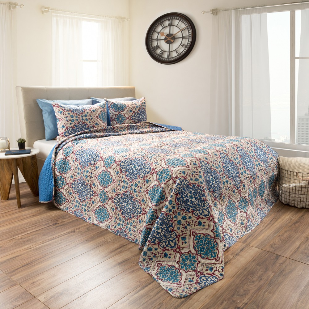 3pc Full/Queen Reversible Alexandra Embossed Quilt Set Blue - Yorkshire Home, Multicolored