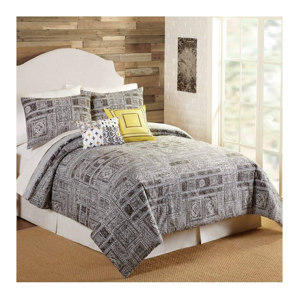 Image of Indigo Bazaar Queen 5pc Tranquility Comforter & Sham Set Gray