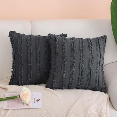 2 Pcs Cotton Linen Tassel Striped Decorative Pillow Cover - PiccoCasa