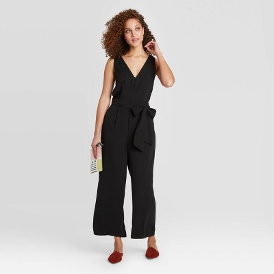 Women's Sleeveless Cropped Jumpsuit - A New Day™ Black S