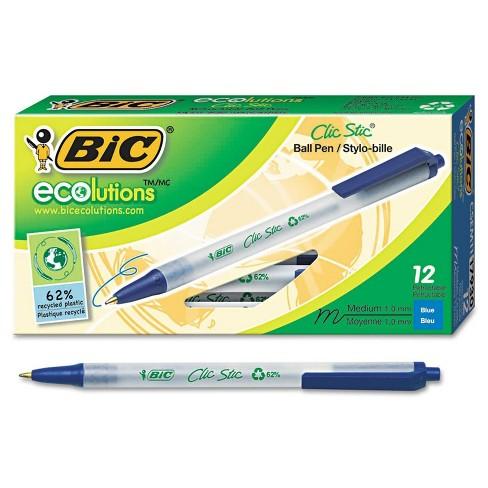 BIC Ecolutions 12pk Clic Stic Ballpoint Retractable Pen Blue - image 1 of 2