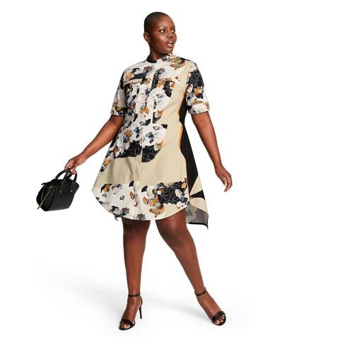 Women\'s Plus Size Floral Print Short Sleeve Crewneck Zip-Front Shirtdress -  3.1 Phillip Lim for Target