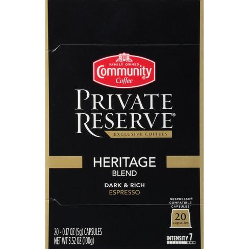 Community Coffee Private Reserve Heritage Blend Espresso Dark Roast - Nespresso Compatible Capsules - 20ct - image 1 of 4