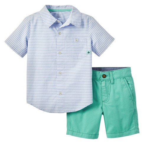 409731158 Just One You™ Made by Carter's® Toddler Boys' 2pc Short Set - Blue/Green 4T