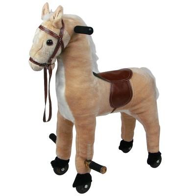 Toy Time Kids' Plush Walking Horse on Wheels Ride-On Toy