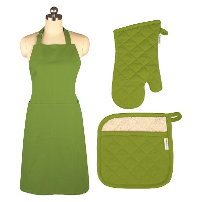Cooking Apron/Mitt/Potholder Green 3pc Set -Mu Kitchen