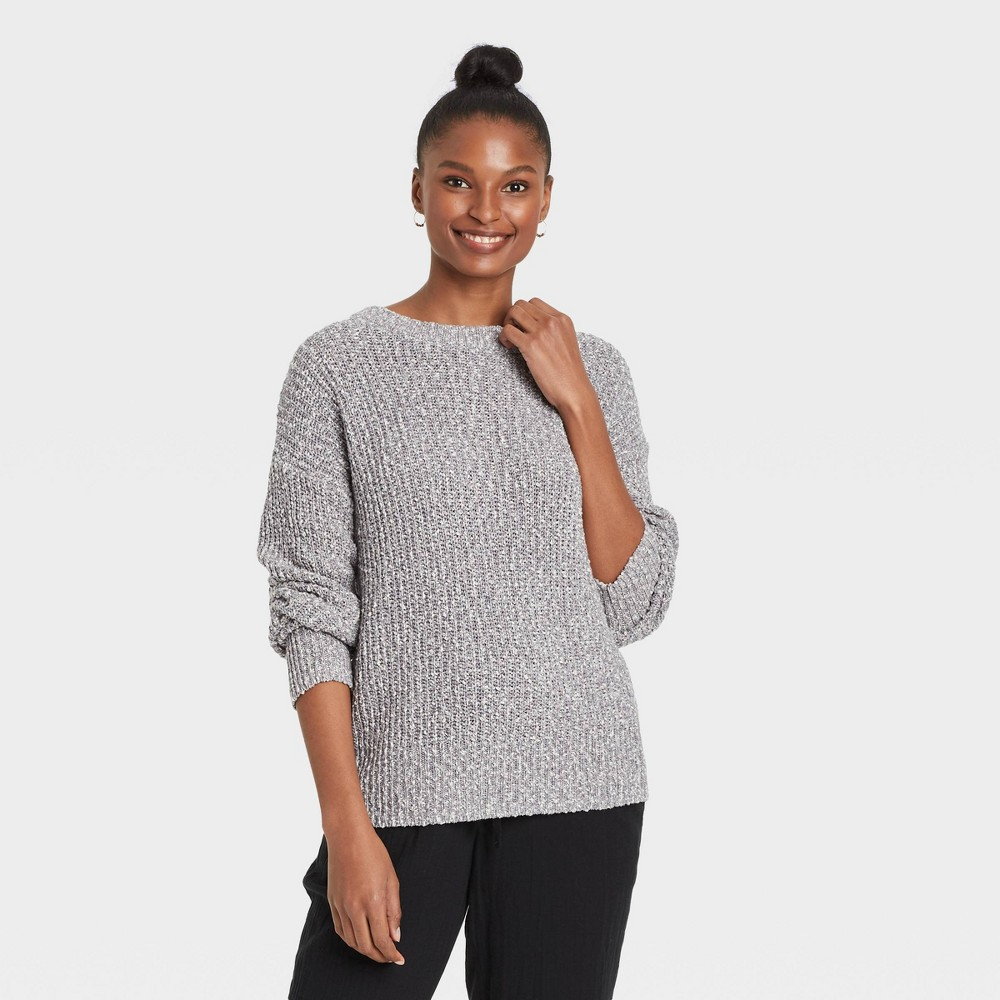 Women 39 S Crewneck Textured Pullover Sweater Universal Thread 8482 Charcoal Heather Xs