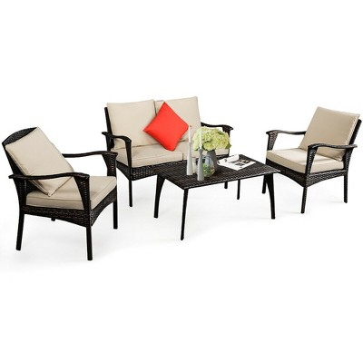 Costway 4PCS Patio Rattan Wicker Furniture Set Cushioned Sofa Couch Coffee Table Brown