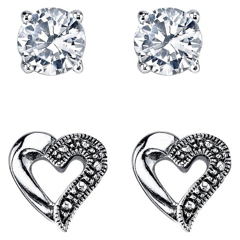 Silver Plated Marcasite and Cubic Zirconia Heart Stud Duo Earring - 9.5mm - image 1 of 1