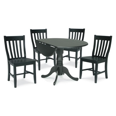 """Set of 5 42"""" Dual Table with 4 Schoolhouse Chairs Dining Sets Black - International Concepts"""