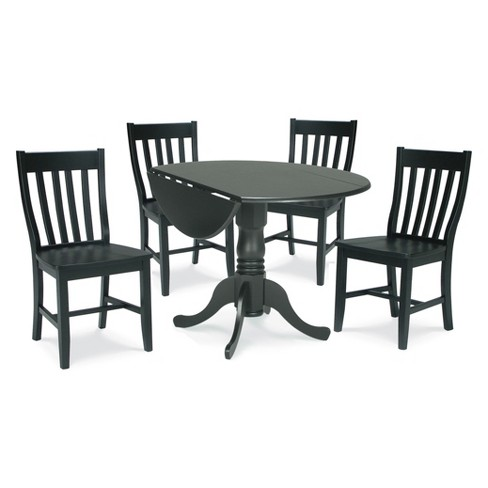 """42"""" Set of 5 Dual Drop Leaf Table with 4 Schoolhouse Chairs Black - International Concepts - image 1 of 4"""
