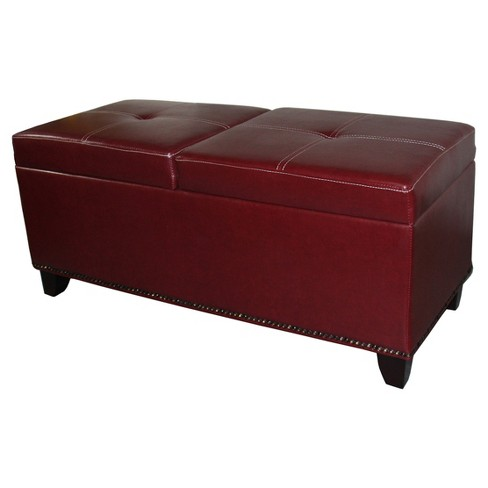 "Storage Bench with Lift Top Table 15"" - Red Leatherette - Ore International - image 1 of 1"