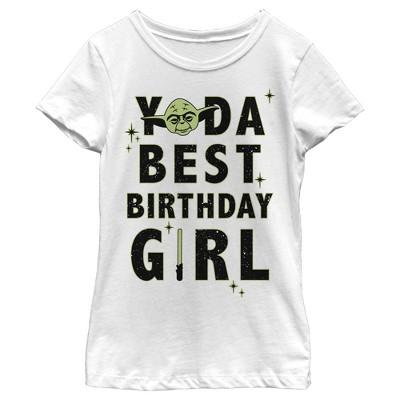 Girl's Star Wars Yoda Best Birthday Girl T-Shirt