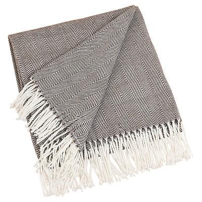 "50""X60"" Herringbone Tassel Fringe Throw Blanket Chocolate - Saro Lifestyle"
