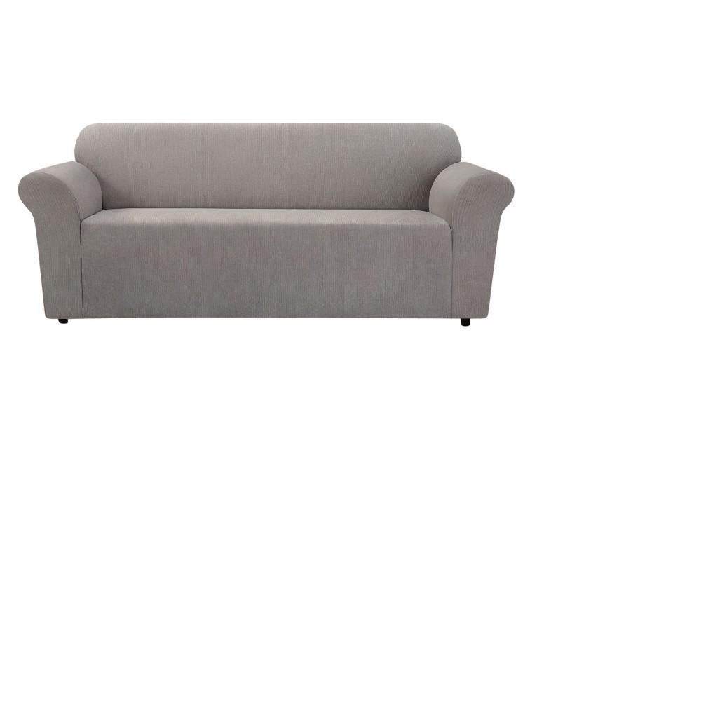 Stretch Chenille Sofa Slipcover Smoke Gray- Sure Fit, Gray