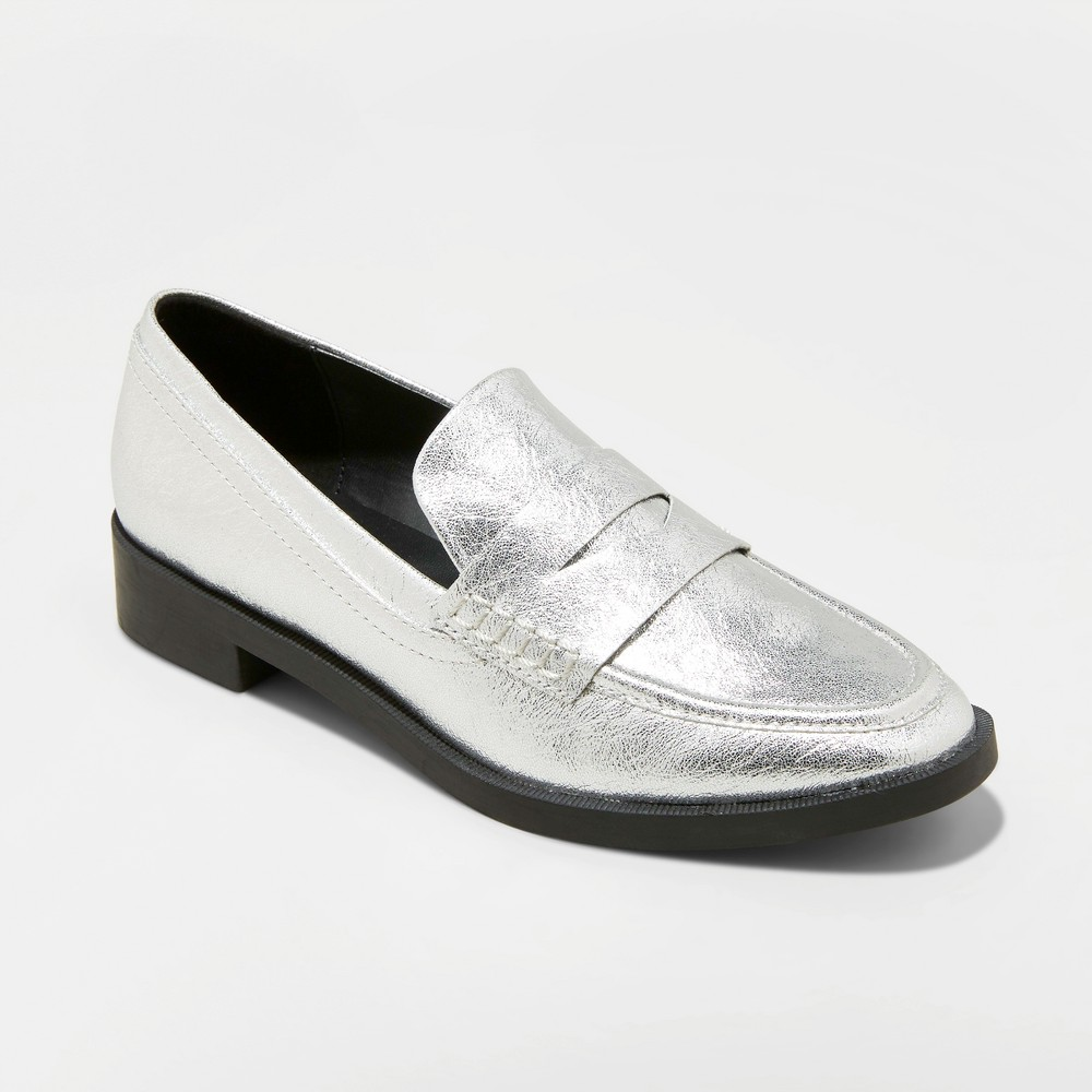 Women's Bernadette Faux Leather Metallic Penny Loafers - A New Day Silver 7.5