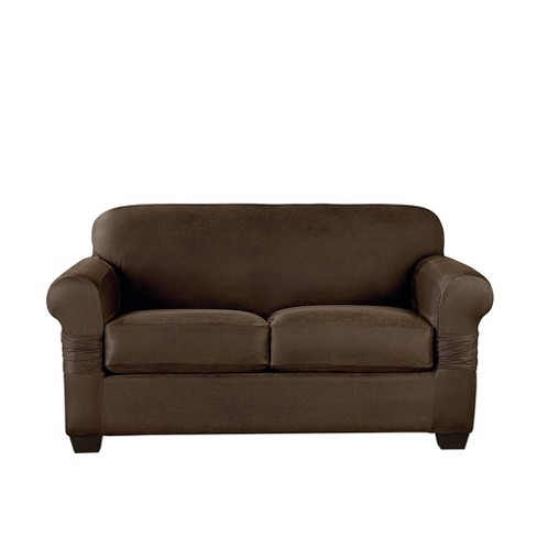 Vintage Leather Loveseat Slipcover - Sure Fit - image 1 of 4