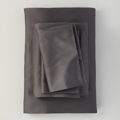 King 500 Thread Count Washed Supima Sateen Solid Sheet Set Dark Gray - Casaluna™