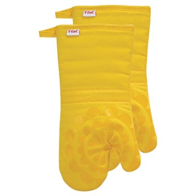 Yellow Medallion Silicone Oven Mitt 2 Pack (13 x13 )T-Fal