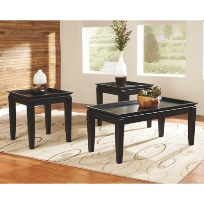 Delormy Occasional Table Set Almost Black (Set Of 3)   Signature Design By  Ashley