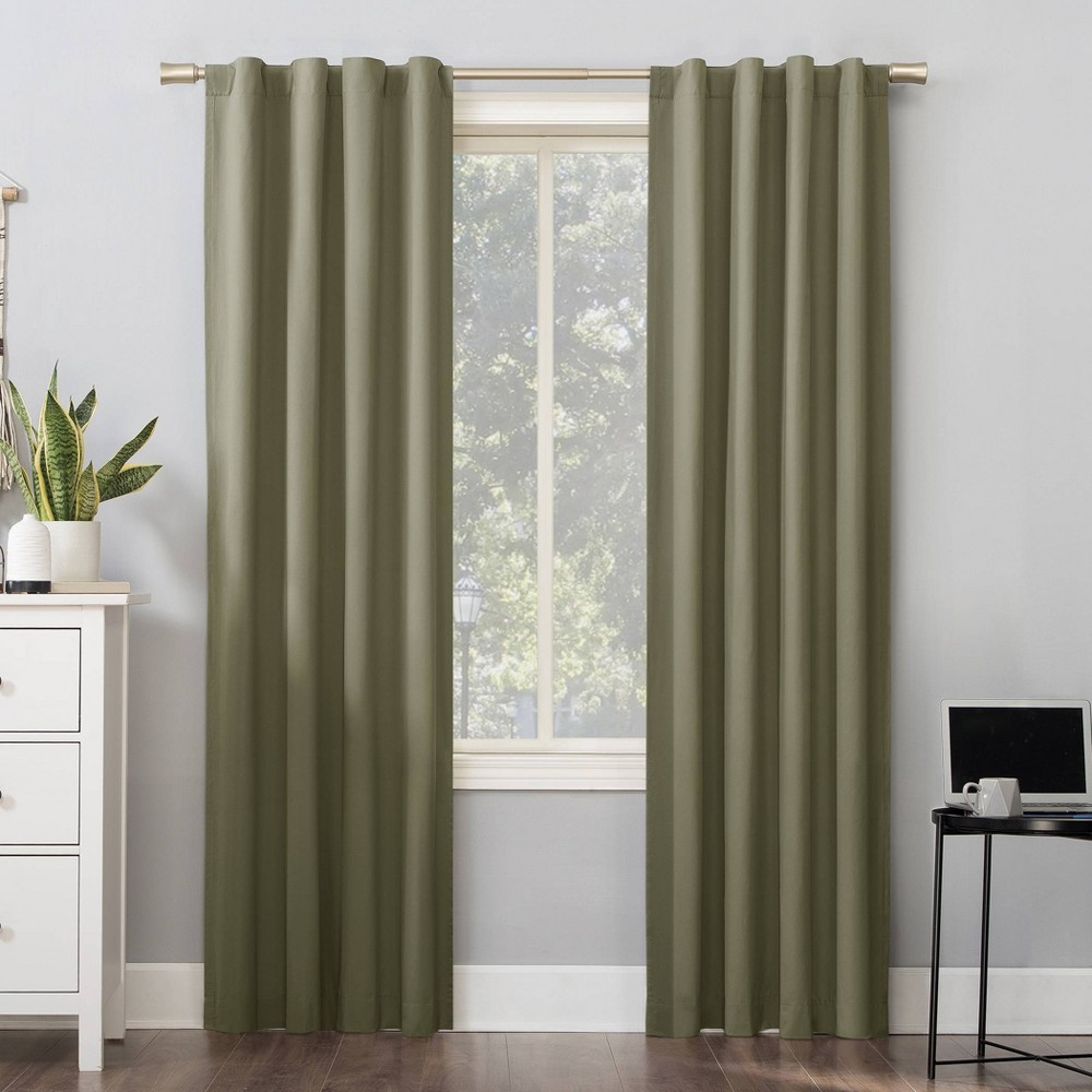 96 34 X40 34 Cyrus Thermal 100 Blackout Back Tab Curtain Panel Olive Green Sun Zero