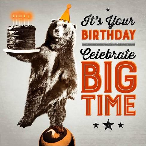 Bear On Ball Birthday Card - image 1 of 4