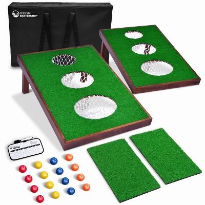 GoSports BattleChip VERSUS Golf Cornhole Chipping Game with 16 Foam Balls, 2 Hitting Mats, Scorecard, and Carrying Case, Green